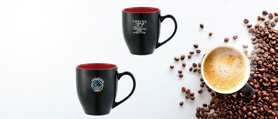 coffee mug and beans from top